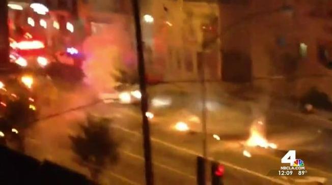 Tesla Splits In Half After Police Pursuit Ends In Fiery Wreck