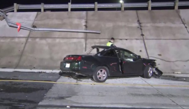 Driver Flies off 405 Freeway in Critical Condition in Los