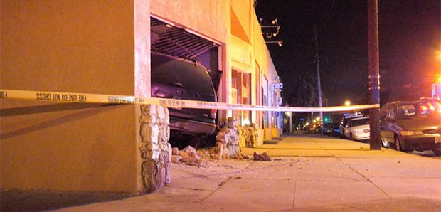 Pregnant Woman Crashes into Building in Bellflower